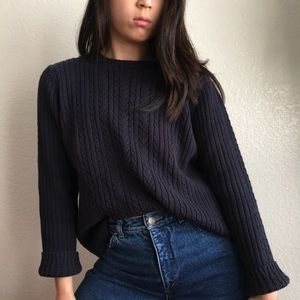 Vintage Cable Knit Sweater in Midnight Blue